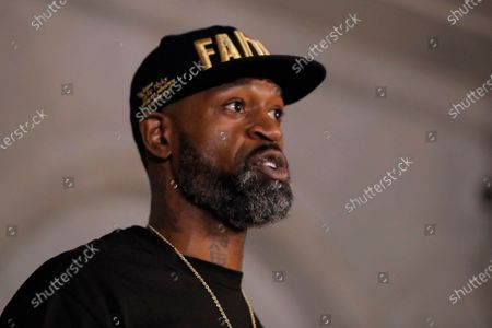 Stephen Jackson the brother of George Floyd speaks during a news conference, in Minneapolis, Minn. The city has seen protests against police brutality sparked by the death of George Floyd, a black man who died after being restrained by Minneapolis police officers on May 25