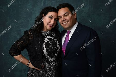 Kristen Anderson-Lopez, left, and Robert Lopez pose for a portrait at the 92nd Academy Awards Nominees Luncheon in Los Angeles. The husband-and-wife songwriting duo of Kristen Anderson-Lopez and Bobby Lopez are just some of the luminaries who have signed on to give master classes and advise fledgling artists as a way to benefit the nonprofit TheaterWorksUSA