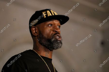 Stephen Jackson a friend of George Floyd speaks during a news conference, in Minneapolis, Minn. The city has seen protests against police brutality sparked by the death of George Floyd, a black man who died after being restrained by Minneapolis police officers on May 25