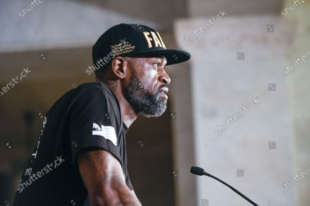 Stock Image of Former NBA player Stephen Jackson speaks to the press at a news conference about Floyd's death while under arrest, in Minneapolis, Minnesota, USA, 02 June 2020. A bystander's video posted online on 25 May, shows George Floyd, 46, pleading with arresting officers that he couldn't breathe as one officer knelt on his neck. The unarmed black man soon became unresponsive, and was later pronounced dead. According to news reports on 29 May, Derek Chauvin, the police officer in the center of the incident has been taken into custody and charged with murder in the George Floyd killing.