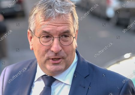 Federation Wallonia - Brussels Minister President Pierre-Yves Jeholet arrives for a meeting of the National Safety Council, consisting of politicians and intelligence services, to discuss tackling the COVID-19 (Coronavirus) pandemic, Wednesday 03 June 2020 in Brussels.