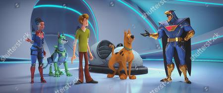 Dee Dee Skyes (Kiersey Clemons), Dynomutt (Ken Jeong), Shaggy Rogers (Will Forte), Scooby-Doo (Frank Welker) and Blue Falcon (Mark Wahlberg)