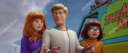Stock Picture of Daphne Blake (Amanda Seyfried), Fred Jones (Zac Efron) and Velma Dinkley (Gina Rodriguez)