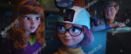 Stock Image of Daphne Blake (Amanda Seyfried), Velma Dinkley (Gina Rodriguez) and Fred Jones (Zac Efron)