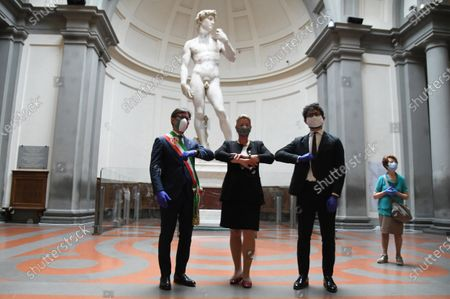 Director Cecile Hollberg, Mayor of Florence Dario Nardella and Tommaso Sacchi Assessor culture, fashion, design during the reopening of Galleria of Accademia after the lockdown