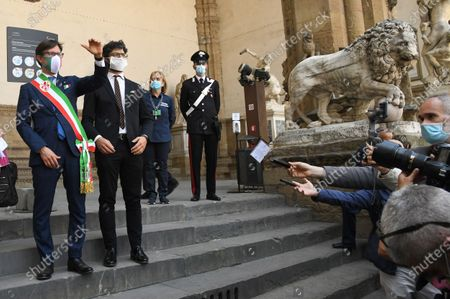 Mayor of Florence Dario Nardella and Tommaso Sacchi Assessor culture, fashion and design at the reopening of Galleria of Accademia after the lockdown