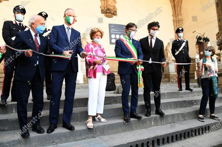 Director of Galleria degli Uffizi Eike Scmidt, mayor of Florence Dario Nardella during the reopening of Galleria of Accademia after the lockdown