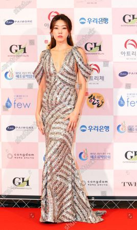 Han Hye-jin arrives for the 56th Daejong Film Awards ceremony at the Grand Walkerhill Hotel in Seoul, South Korea, 03 June 2020. The event, a major South Korean film awards ceremony also known as the Grand Bell Awards, is held amid precautionary measures due to the ongoing pandemic of the COVID-19 disease caused by the SARS-CoV-2 coronavirus.