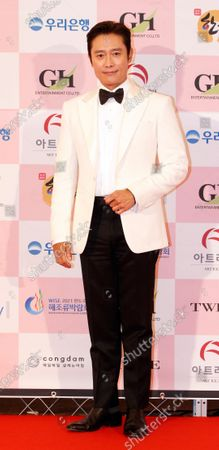 Lee Byung-hun arrives for the 56th Daejong Film Awards ceremony at the Grand Walkerhill Hotel in Seoul, South Korea, 03 June 2020. The event, a major South Korean film awards ceremony also known as the Grand Bell Awards, is held amid precautionary measures due to the ongoing pandemic of the COVID-19 disease caused by the SARS-CoV-2 coronavirus.