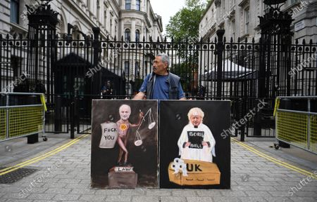 Political satire artist Kaya Mar protests against Special Advisor Dominic Cummings outside 10 Downing Street in London, Britain, 03 June, 2020. Cummings broke lockdown regulations in April but has been backed by Prime Minister Boris Johnson. Calls for Cummings's resignation have increased since news broke the Cummings violated lockdown regulations when he and his wife - both suspected of showing Covid-19 symptoms - travelled across the country to self-isolate at a family's property.