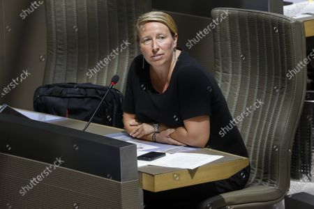 SP.A's Caroline Gennez pictured during a plenary session of the Flemish Parliament in Brussels, Wednesday 03 June 2020.