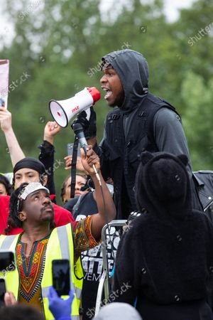 Star Wars actor John Boyega speaks in Hyde Park, London in support of the Black Lives Matter movement after the death of George Floyd in Minneapolis at the hands of a white police officer.
