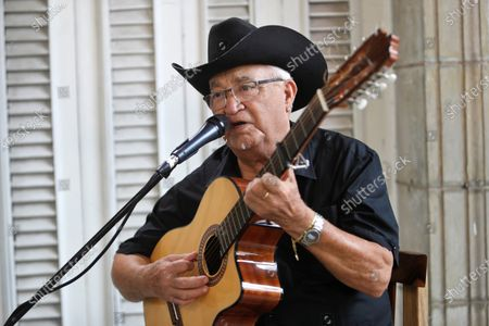 Stock Picture of Eliades Ochoa, one of the stars of Buena Vista Social Club, during an online concert in Havana, Cuba, 02 June 2020 (issued on 03 June 2020). Several Cuban artists have chosen to offer concerts that will be broadcast via streaming with the support of the Ministry of Culture and the Cuban Institute of Music (ICM), at ICM headquarters.
