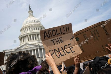 Protestors gather at the United States Capitol in Washington D.C., U.S., after George Floyd died in police custody in Minnesota.