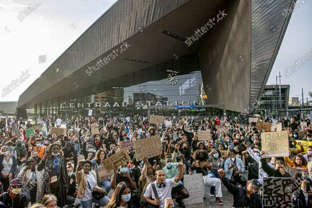 Thousands of people line Erasmus bridge as they take part in a demonstration in Rotterdam, Netherlands, to protest against the recent killing of George Floyd, police violence and institutionalized racism. Floyd, a black man, died in police custody in Minneapolis, U.S.A., after being restrained by police officers on May 25, 20203 Jun 2020