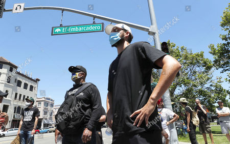 Stock Image of Golden State Warriors player Klay Thompson joins a march during a demonstration over the arrest in Minnesota of George Floyd, who later died in police custody, in Oakland, California, USA, 03 June 2020. A bystander's video posted online on 25 May, appeared to show George Floyd, 46, pleading with arresting officers that he couldn't breathe as an officer knelt on his neck. The unarmed black man later died in police custody.