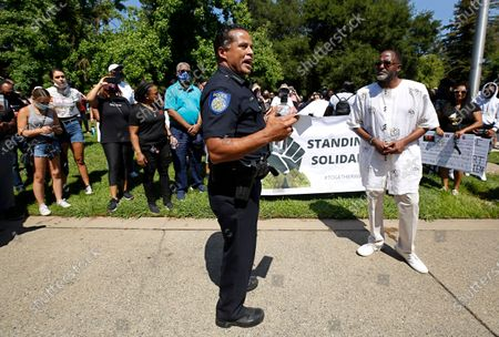 Stock Picture of Sacramento Police Chief Daniel Hahn speaks at a rally, in honor of George Floyd, in Sacramento, Calif. Hahn other local officials, joined hundreds of demonstrators in a peaceful march to a nearby church. Floyd, a black man, died after being restrained by Minneapolis police officers on May 25, 2020