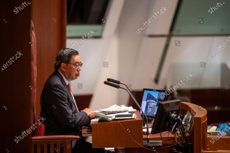 Speaker of the Legislative Council, Andrew LEUNG Kwan-yuen seen during the the last day of reading of the National Anthem Bill at the Legislative Council.