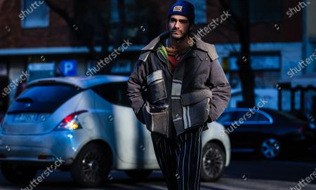 MILAN, Italy- January 11 2020: Giotto Calendoli on the street during the Milan Fashion Week.