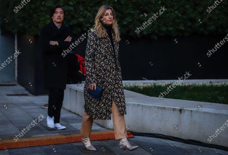MILAN, Italy- January 11 2020: Ada Kokosar on the street during the Milan Fashion Week.