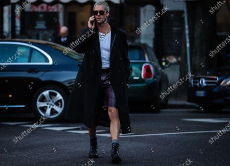 MILAN, Italy- January 11 2020: Chris Burt Allan on the street during the Milan Fashion Week.