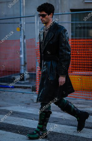 MILAN, Italy- January 11 2020: Marc Forne on the street during the Milan Fashion Week.