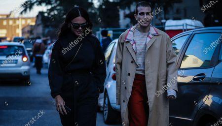MILAN, Italy- January 11 2020: Evangelie Smyrniotaki and Carlo Sestini on the street during the Milan Fashion Week.