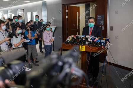 President of the Legislative Council of Hong Kong Andrew Leung, (R), speaks to reporters after the Council's vote on the National Anthem bill at the Legislative Council in Hong Kong, China, 04 June 2020. Lawmakers passed the legislation to make disrespecting or misusing the national anthem, 'March of the Volunteers', a criminal offence, with offenders liable to fines of up to 50,000 Hong Kong dollars (6,449 US dollars) and three years in jail.