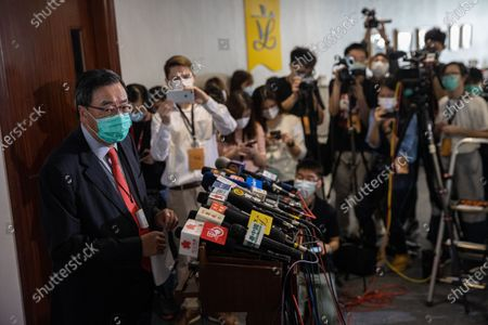 President of the Legislative Council of Hong Kong Andrew Leung, (L), speaks to reporters after the Council's vote on the National Anthem bill at the Legislative Council in Hong Kong, China, 04 June 2020. Lawmakers passed the legislation to make disrespecting or misusing the national anthem, 'March of the Volunteers', a criminal offence, with offenders liable to fines of up to 50,000 Hong Kong dollars (6,449 US dollars) and three years in jail.