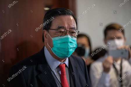 President of the Legislative Council of Hong Kong Andrew Leung speaks to reporters after the Council's vote on the National Anthem bill at the Legislative Council in Hong Kong, China, 04 June 2020. Lawmakers passed the legislation to make disrespecting or misusing the national anthem, 'March of the Volunteers', a criminal offence, with offenders liable to fines of up to 50,000 Hong Kong dollars (6,449 US dollars) and three years in jail.