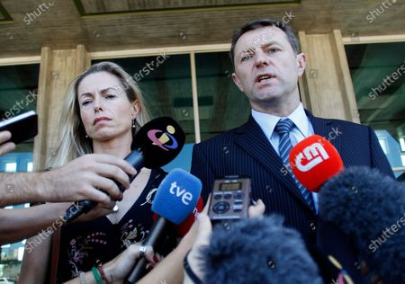 Stock Picture of Kate McCann, left, and Gerry McCann, the parents of missing British girl Madeleine McCann talk to the media outside a court in Lisbon. Madeleine McCann's family is hoping for closure in the case after a key suspect was identified in Germany and as authorities there say they believe the missing British girl is dead