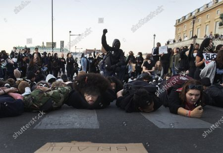 Protestors gathered in Sergel's square in Stockholm, Sweden, June 03, 2020, in support of the Black Lives Matter movement following the death of George Floyd in Minneapolis after being restrained by a white police officer. The crowds were ordered to disperse as they were violating the coronavirus restrictions. The crowds then spilled into other parts of the city like the Royal Castle.