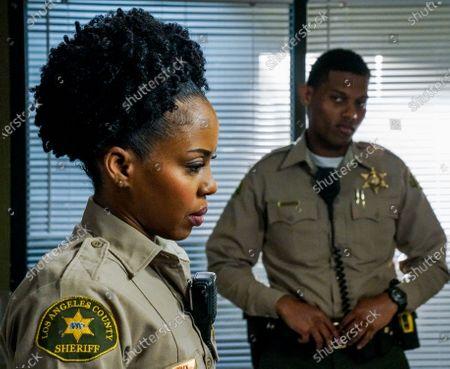 Stock Picture of Danielle Mone Truitt as Charlie Minnick and Shane Paul McGhie as Deputy Joseph Harris