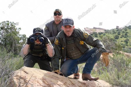 Stock Photo of Bex Taylor-Klaus as Deputy Brianna Bishop, Brian Van Holt as Detective Cade Ward and Stephen Dorff as Sheriff Bill Hollister