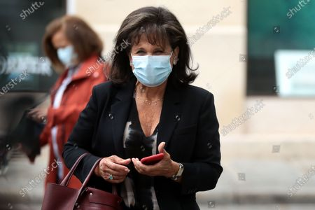French journalist Anne Sinclair wears a face mask as she attends the funeral ceremony of the French actor Guy Bedos at the Church of Saint-Germain-des-Pres in Paris, France, 04 June 2020. Bedos died at the age of 85 in Paris on 28 May 2020.