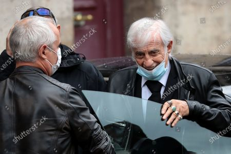 Jean-Paul Belmondo (R) wears a face mask as he attends the funeral ceremony of the French actor Guy Bedos at the Church of Saint-Germain-des-Pres in Paris, France, 04 June 2020. Bedos died at the age of 85 in Paris on 28 May 2020.
