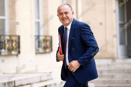 French Agriculture Minister Didier Guillaume arrives for a meeting with French President Emmanuel Macron and other French Unions following the coronavirus crisis at the Elysee Palace, in Paris, . After imposing one of Europe's most harsh lockdowns, France expects its economy to shrink by 11% this year, French Economy Minister Bruno Le Maire said last Tuesday