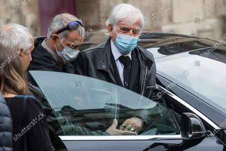 Jean-Paul Belmondo (R) and his son, Paul Belmondo (2-R), wear face masks as they leave the funeral ceremony for Guy Bedos at the Church of Saint-Germain-des-Pres in Paris, France, 04 June 2020. Bedos, an actor, stand-up comedian and screenwriter best known for his recurring role as Simon in 1970s comedies directed by Yves Robert, passed away on 28 May at the age of 85 in Paris. Born in Algeria, Bedos was very active in left-wing politics and gained popularity for his biting satirical sketches and impressions.