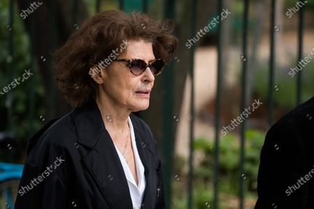 Stock Photo of Fanny Ardant attends the funeral ceremony for Guy Bedos at the Church of Saint-Germain-des-Pres in Paris, France, 04 June 2020. Bedos, an actor, stand-up comedian and screenwriter best known for his recurring role as Simon in 1970s comedies directed by Yves Robert, passed away on 28 May at the age of 85 in Paris. Born in Algeria, Bedos was very active in left-wing politics and gained popularity for his biting satirical sketches and impressions.