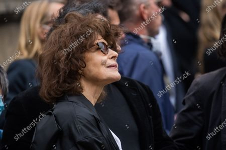 Fanny Ardant attends the funeral ceremony for Guy Bedos at the Church of Saint-Germain-des-Pres in Paris, France, 04 June 2020. Bedos, an actor, stand-up comedian and screenwriter best known for his recurring role as Simon in 1970s comedies directed by Yves Robert, passed away on 28 May at the age of 85 in Paris. Born in Algeria, Bedos was very active in left-wing politics and gained popularity for his biting satirical sketches and impressions.