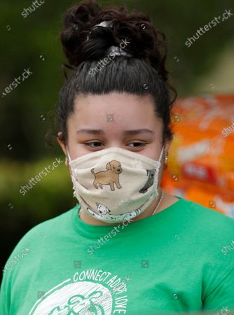 Stock Photo of Miami-Dade County Animal Services Department volunteer Athzirid Espinoza wears a dog-themed mask to protect against the new coronavirus, as she helps load dog treats into a car at a Drive-Thru Pet Food Bank at Lake Stevens Park, in Miami Gardens, Fla. About 40,000 lbs of dog and cat food donated by the American Society for the Prevention of Cruelty to Animals as part of their national ASPCA COVID-19 Relief & Recovery Initiative were distributed Thursday