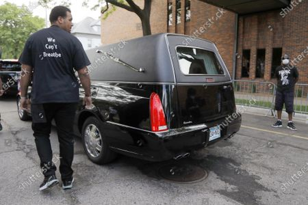 The body of George Floyd departs from Frank J. Lindquist Sanctuary at North Central University after a memorial service, in Minneapolis