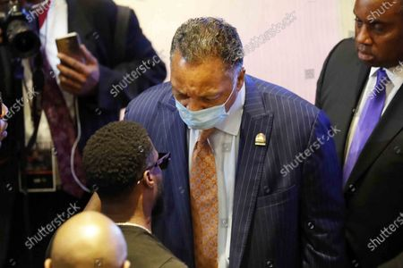 The Rev. Reverend Jesse Jackson with Kevin Hart in the Frank J. Lindquist Sanctuary at North Central University, before a memorial service for George Floyd in Minneapolis