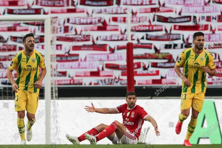 Benfica's player Adel Taarabt (C) protesting during his Portuguese First League soccer match played against Tondela, held at the Luz stadium in Lisbon, 04 June 2020.