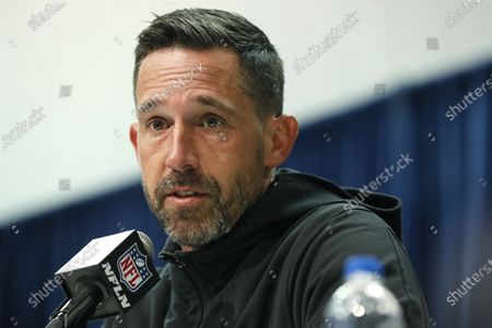 San Francisco 49ers head coach Kyle Shanahan speaks during a news conference at the NFL football scouting combine in Indianapolis. Shanahan praised former NFL quarterback Colin Kaepernick Thursday, June 4, for trying to bring the issue of racism and police brutality to light with his protests during the national anthem in the 2016 season