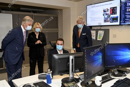 King Philippe visits the National Crisis Center (NCCN). The King wishes to learn about the role of the Center in the management of the Covid-19 crisis. The center continuously collects, analyzes and transfers the necessary information to the authorities. During the coronavirus crisis, its infrastructure and expertise in interdepartmental management and crisis coordination were used.Pix : Pieter De Crem / King Philippe of Belgium