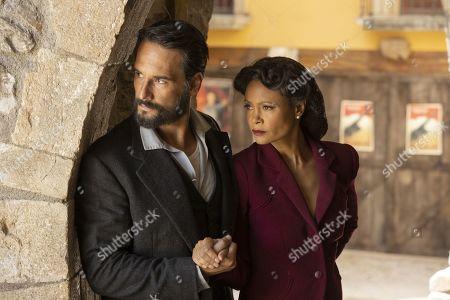 Rodrigo Santoro as Hector Escaton/Ettore and Thandiwe Newton as Maeve Millay