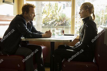Stock Picture of Aaron Paul as Caleb Nichols and Evan Rachel Wood as Dolores Abernathy