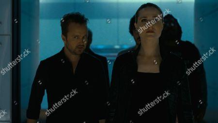 Aaron Paul as Caleb Nichols and Evan Rachel Wood as Dolores Abernathy