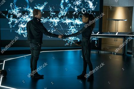 Aaron Paul as Caleb Nichols and Thandiwe Newton as Maeve Millay